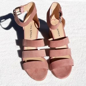 Via Spiga Suede Dusty Rose Heeled Sandals NEW